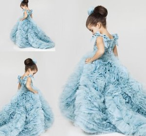 2019 New Pretty Flower Girls Dresses Ruched Tiered Ice Blue Puffy Girl Dresses for Wedding Party Gowns Plus Size Pageant Dresses Sweep Train