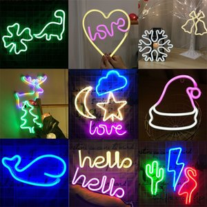 Wholesale Ins Cactus Modeling Decorative Lamp Festival Flamingo Style Lamps Moon Lightning Multi Styles Neon Lights New Arrival ty L1