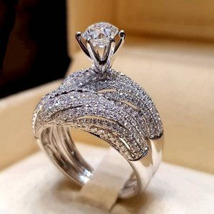 Wholesale 3 Styles Bling Bling Wedding Ring Zircon Ring Set for Wedding Bridal Gift for Love Girlfriend Luxury Jewelry Accessories