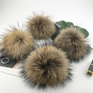 Wholesale Big cm Fluffy Real Fox Fur Ball Pom Poms Natural Fur Pompom Leather Strap Keychain Key Chain Ring Pendant For Women Charm