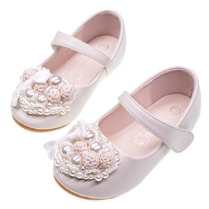 Wholesale floral girl princess shoes pearl kids shoes Fashion girls shoes Kids Dress Shoe Girls Footwear chaussures enfants girl wedding shoe A5058