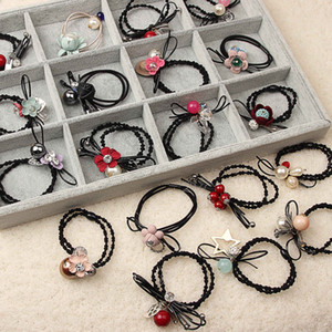 Wholesale hair jewerly resale online - Nice New Hair Rubber Bands Elastic Fabric hair ties Mix Pearl Flower Bowknot Pink black Red blue Korean style Fashion Jewerly for women