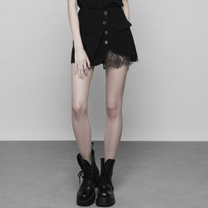 Wholesale PUNK RAVE Women s Korean Style Black Sexy Lace Stitching A Line Mini Skirt Gothic Punk Girl Summer Skirts