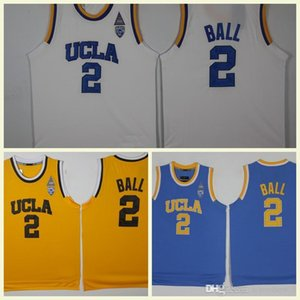Wholesale Men's Yellow Blue White Lonzo Ball College Basketball Jerseys Stitched Shirts Top Quality UCLA Bruins Basketball Jersey #2 Lonzo Ball J