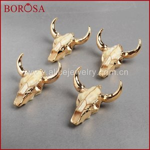 Wholesale Borosa Fashion Buffalo Head Bead gold Color Bull Cattle Charm Bead Longhorn Resin Horn Cattle Pendant For Jewelry G842 J190519