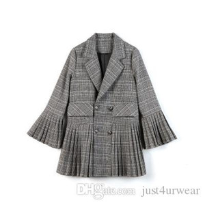 Wholesale Women Fashion Plaid Suit Coat Seasons Pleated Skirt Bell sleeve Female Vintage Lapel V Neck Patchwork Blazers
