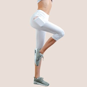 Women's Yoga Capri Legging with Pocket Non See-Through Fabric Leggings white