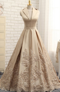 Wholesale Unique Neck Designer Champagne Princess Evening Prom Dress Formal Gowns V neck satin Sequin Applique Lace Zipper Back Quinceanera Dress
