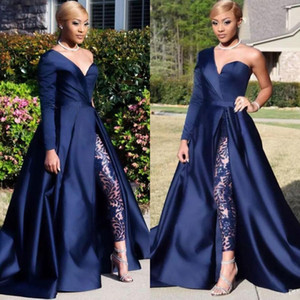 Wholesale Dubai One Shoulder Prom Dresses Pant Suits A Line Royal Navy High Split Long Sleeve Formal Party Gowns Jumpsuit Celebrity Dresses BC0282