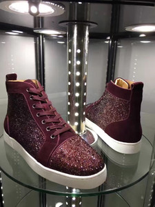 Excellent Sparkle Strass Sneakers High Quality Women Men Leisure Flats Red Bottom Shoes High Quality Casual Party Dress Evening EU35-47