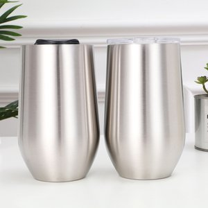 Wholesale 16oz Stainless Steel Egg Cup double wall Vacuum Insulation Mugs Tumblers Oudoor Travel Stemless Wine Glasses Water Bottle HOT GGA2805