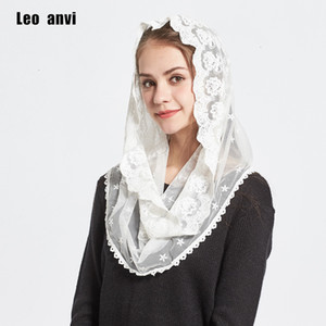 Wholesale Leo anvi fashion lace headband foulard femme bandana Infinity Mantilla Chapel Veil White Embroidered jersry hijab women scarf MX191018