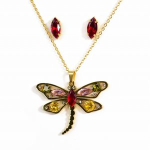 Wholesale Dragonfly Pendant titanium steel jewelry women s crystal necklace colorful gemstone necklace earrings set ornament