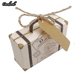 Wholesale 100 Creative Mini Suitcase Candy Box Candy Packaging Carton Wedding Gift Box Event Party Supplies Wedding favors with Card