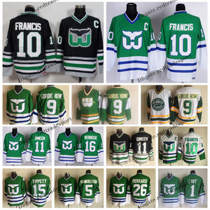 Wholesale Mens Old Time Hockey Hartford Whalers Ron Francis Jersey Green Black Vintage GORDIE HOWE Liut TIPPETT Verbeek Dineen Samuelsson C Patch