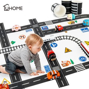 Wholesale 11pcs Set Railway Washi Sticker Wide Creative Traffic Adhesive Masking Tape Scotch Road for Kid Toy Car Play Y200103