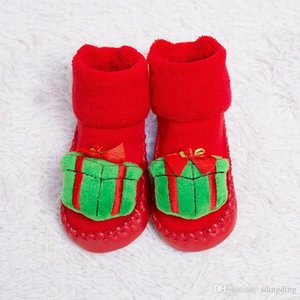 Wholesale Christmas Cartoon Non slip Baby Socks Shoes Children Infant Toddlers Thick Soft Cashmere Shoes First Walkers Floor Socks Decoration DH0236