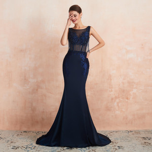 Wholesale 2020 Mermaid Sleeveless Sheer Bodice Deep Navy Beaded Prom Dresses High End Quality Party Dress 24357 Formal Evening Wear