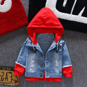 Wholesale Jeans Jacket Girls Kids 2019 Autumn Boys Hoodies Coat Denim Long Sleeve Outerwear Children Windbreaker for 1-6 Years