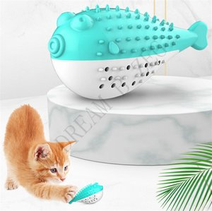 Wholesale 4 Colors Pet Cat Toothbrush Durable Silicone Pet Molar Toy Funny Fish Shape Cat Toothbrush Teething Toy Pet Toys