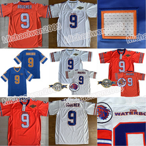 schüsseln für hunde großhandel-9 Bobby Boucher Herren Adam Sandler Bobby Boucher MOVIE The Waterboy Mud Hunde Fußball Jersey mit Bourbon Bowl Flecken orange Weiß Blau