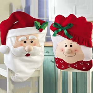 Wholesale HOT Xmas Mr and Mrs Santa Claus Christmas Dining Dinner Table Chair Back Cover Decoration