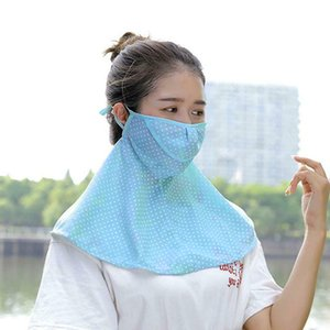 Wholesale Neck Protection Shawl Outdoor Acrylic Riding Dustproof Face Mask Women Summer Wide Brim Anti UV Travel Breathable Dot