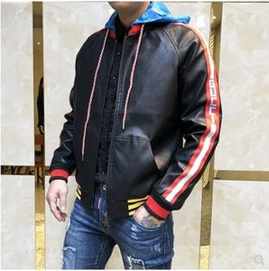 Wholesale Harajuku zipper unique designer men's leather jacket home coat leather couple motorcycle locomotive tide brand men and women jacket hooded