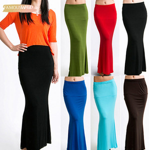 Wholesale New Fashion Arrivalfshion Long Womens Solid Maxi Skirt Summer Candy Color Jersey Flared Summer Casual Good Quality Drop Shipping