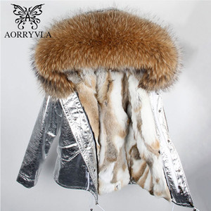 Wholesale AORRYVLA Fur Collar Jacket Women Winter Silver Color Large Raccoon Fur Hooded Parka Short Length Real Rabbit line Parka