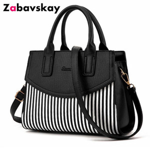 Wholesale New Brand Design Fashion Women Handbag Black And White Stripe Tote Bag Female Shoulder Bags High Quality Pu Leather Purse Djz305 Y19061903