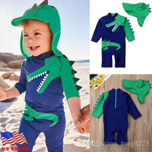 2019 Toddler Boy Swimsuit Baby Kids Boy Dinosaur Swimwear&Hat Surfing Children Beachwear Set Bathing