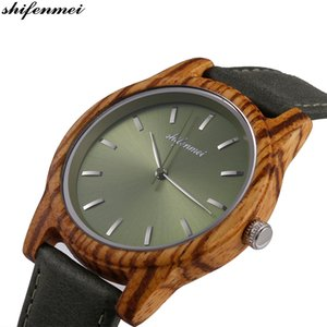 Wholesale shifenmei Wooden women Men Watches Men s watch stainless steel Hand quartz Wood Leather Bracelet S5551 lovers Watch