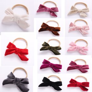 Wholesale 1PC Korean Lovely Kids Baby Bows Elastic Hair Bands Cute Soft Velvet Hair Ties For Girls Accessories Headwear