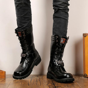 Wholesale Masorini Army Boots Men Chain Mens Boots Skull Metal Buckle Lace Up Male Motorcycle Punk Men s Shoes Rock WW