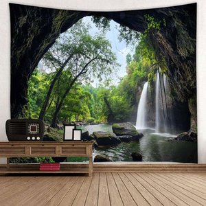 Tree and Waterfall Pattern Tapestry Landscape Tapestry Wall Hanging Tapestry Home Decor Bohemian Bedsheet Tablecloth Wall Hanging Decor