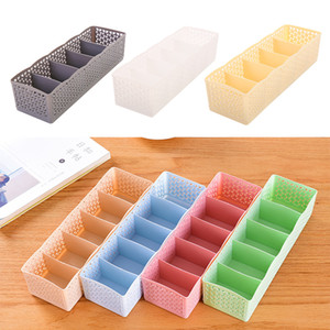 Wholesale Hot Grids Makeup Storage Boxes Bins Basket Organizer Women Men Socks Bra Underwear Storage Container Case