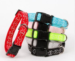 Wholesale Hollow bone dog collar ribbon belt imitated nylon silk print pet dog collar cross border pet supplies WL98