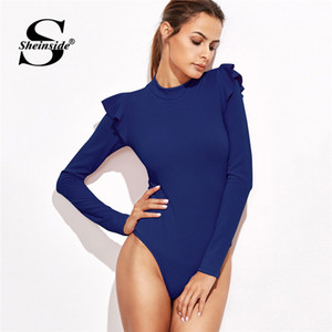 Wholesale Sheinside Blue Mock Neck Frill Detail Textured Bodysuit Women Clothes Long Sleeve Bodysuit Mid Waist Ladies Sexy Bodysuits