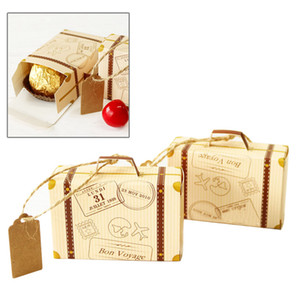 Wholesale 2PCs Set Creative Mini Suitcase Design Candy Box Candy Packaging Carton Chocolate Box Wedding Gift With Card For Event Party