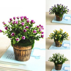 Wholesale 1set Artificial Plant Pot Decorative Flower Fake Flower Potted Bonsai Green Plant for Home Outdoor Indoor Decoration