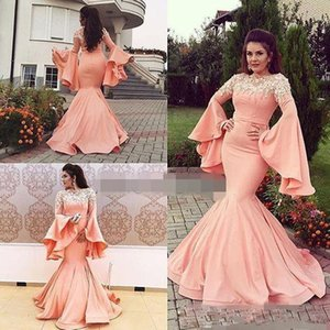 Wholesale 2019 New Modern Coral Mermaid Arabic Evening Dresses Jewel Neck Hand Made Flower Beaded Poet Long Sleeve Formal Wear Satin Prom Dresses