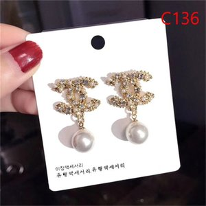 Wholesale latest fashion Elegant Ms Letters designer high quality Earrings Double Layers Crystal Pearl Ear Studs Earrings Girl Jewelry