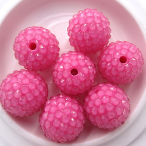 Wholesale 50PCS Hot Pink MM Neon effect transparent Chunky Resin Rhinestone Ball Beads Accessories For Chunky Necklace Jewelry Making
