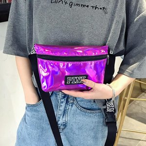 Wholesale Letter Waist Bag Holographic Female Belt Fanny Pack Laser Pu Belt Bag Pink Banana Makeup Bags Fashion Heuptas Handbags Purse Pouch Belt