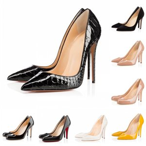 Wholesale Classic Luxury Designer Women Shoes Red Bottom High Heels cm cm cm White Black Leather Pointed Toes Pumps Wedding Dress Shoes