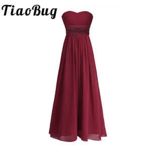 wholesale Women Adults Strapless Chiffon Bridesmaid Dress Long Tulle Maxi Floor Length Dresses Prom Gown Princess Summer