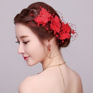 Wholesale Ever Fairy Fashion Red Bride Hair Ribbons Headband Bride Wedding Wreath Hair Accessories Women New Artificial Butterfly Headwear