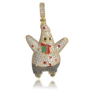 cartoon-figur halskette großhandel-Iced Out Cartoon Cartoon Charakter Sea Stern Halskette Micro Gepflasterte KubikZircon Bling Herrenschmuck