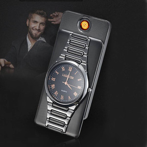 Creative 2 in 1 brick watch lighter Electric heater cigarette lighter USB Rechargeable cigar Lighter slim Windproof top grade gift